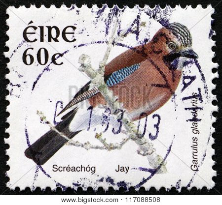 Postage Stamp Ireland 2002 Jay, Bird