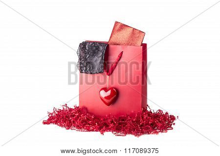 Beautiful Red Love Present Bag With Black Lingerie And Envelope