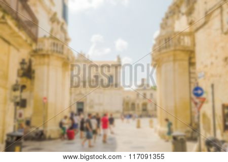 Defocused Background Of Propylaea, Gateway Of Cathedral Square In Lecce