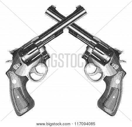 Crossed Pistols Engraved Style
