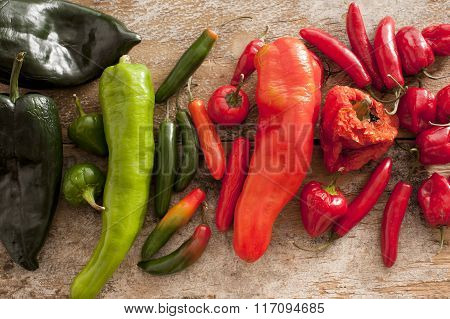 Different Varieties And Colors Of Chili Peppers