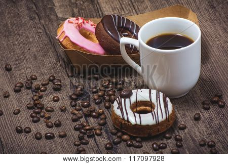 Donuts and cup of coffee