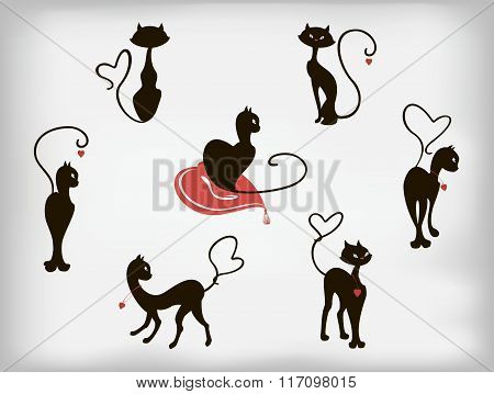 Set of black cats with hearts for Valentines Day. EPS10 vector illustration.