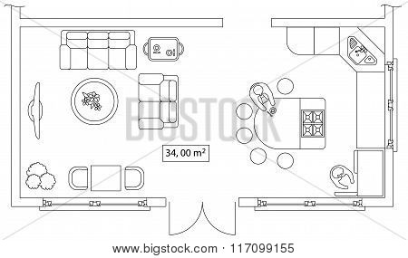 Architectural set of furniture. Interiors elements for house, cottage, office, floor plan. Thin line