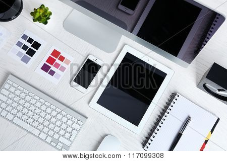Working place of designer, close-up