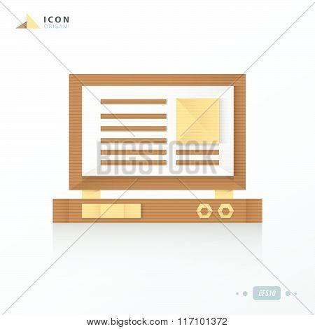 Laptop Origami Icon Paper Design