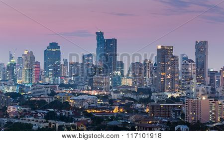 Aerial view city downtown twilight time