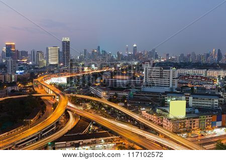 Bangkok highway interchanged with city downtown