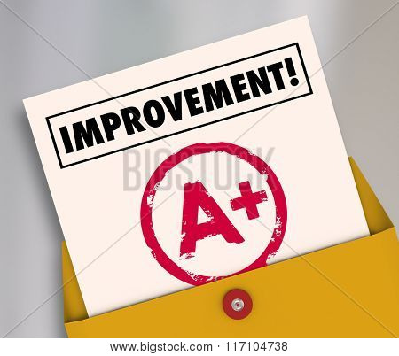 Improvement word on a report card with A plus grade to illustrate good results from studying or tutoring for school education
