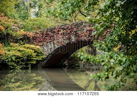 Central Park Gapstow Bridge In Full Autumn Colors