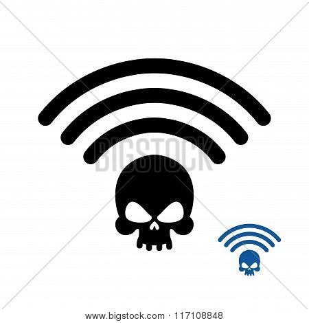 Wifi Death. Wireless Transmission Of Death. Remote Access Of Death. Wi-fi Wireless Lan Skull. Wi Fi