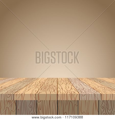 Wooden Table. Wooden Surface. Wood Texture. Planks Of Wood In Perspective.