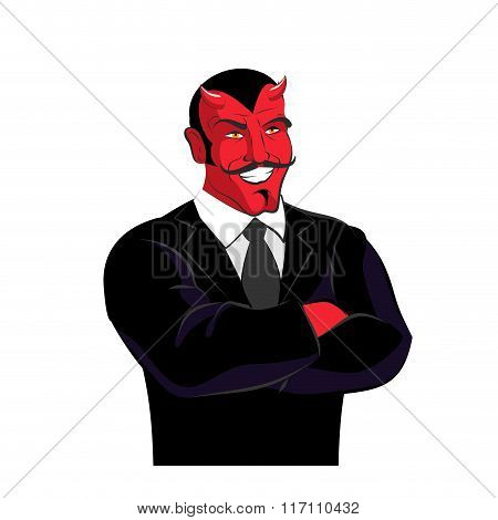 Devil In Black Business Suit. Satan Businessman. Red Lucifer With Mustache. Horned Demon Laughs.