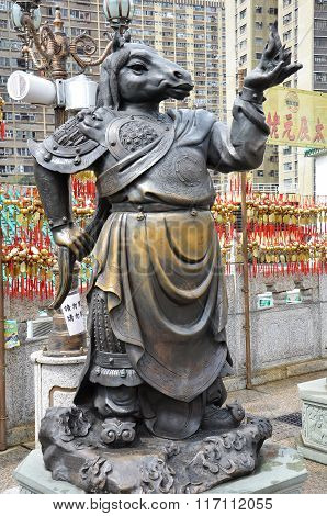 Hong Kong, China - June 25, 2014: Chinese Zodiac Bronze Horse Stature At Sik Sik Yuen Wong Tai Sin T