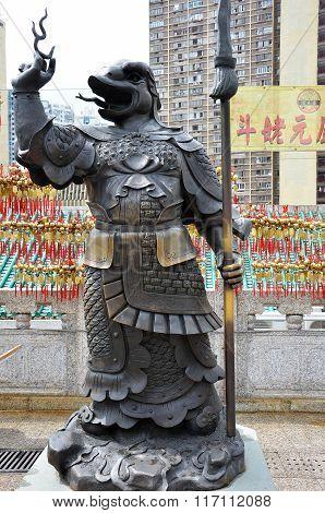 Hong Kong, China - June 25, 2014: Chinese Zodiac Bronze Snake Stature At Sik Sik Yuen Wong Tai Sin T