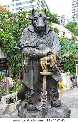 Hong Kong, China - June 25, 2014: Chinese Zodiac Bronze Ox Stature At Sik Sik Yuen Wong Tai Sin Temp