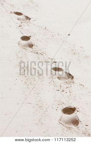 Four Footprints Of A Human On The Beach Sand