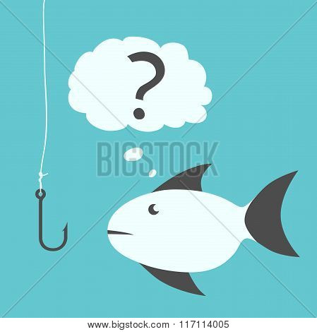 Thoughtful Fish And Fishhook