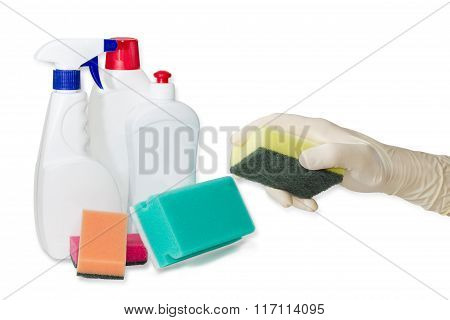 Hand In Rubber Glove With Cleaning Sponge And Cleaning Agents