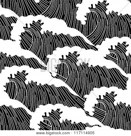 Sea seamless pattern with abstract  hand drawn waves. Background for textile printing and wrapping p