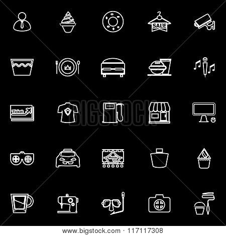 Franchisee Business Line Icons On Black Background