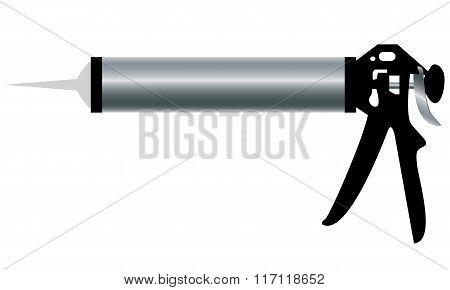 Aluminum Caulking Gun isolated on white background.