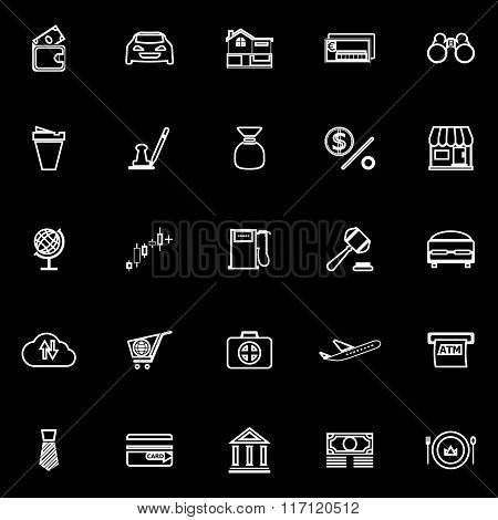 E Wallet Line Icons On Black Background