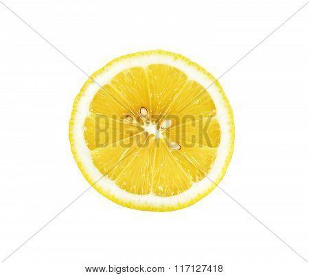 Half Sliced Lemon Isolated On The White Background