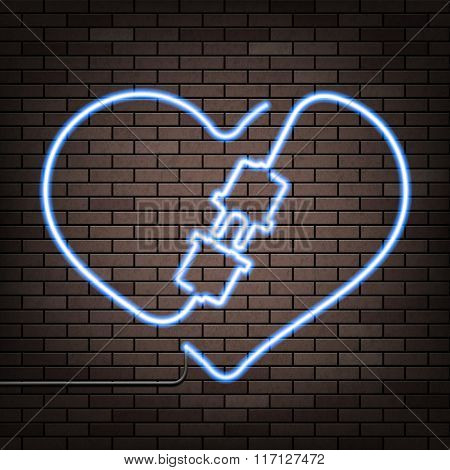 Neon Heart On A Brick Wall