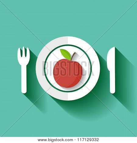 Red Apple On A Plate.