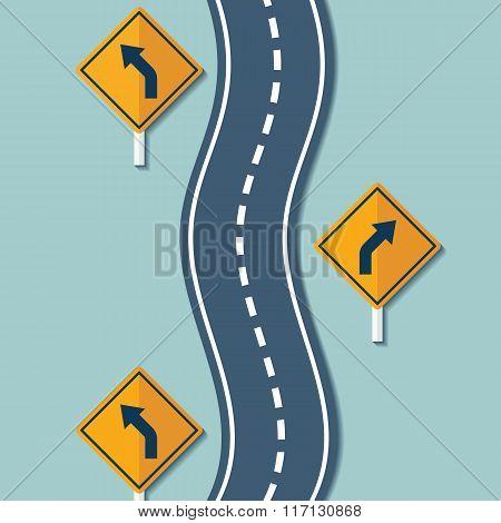 Winding Road And Warning Signs