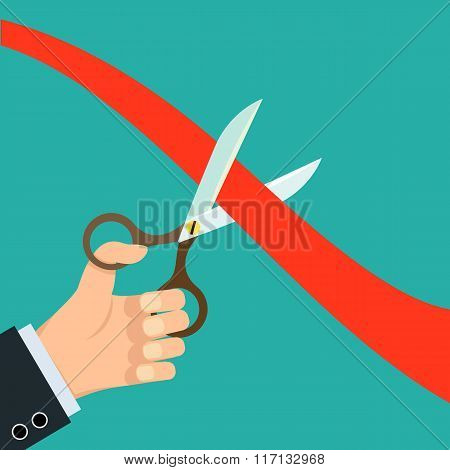 Scissors Cut Red Ribbon