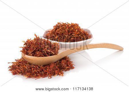 Closeup Safflower isolated on white background. food