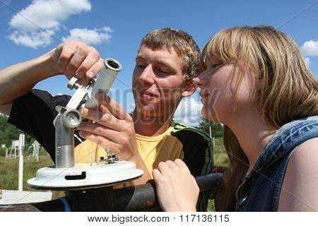 Students Meteorologists In The Field On A Practical Training