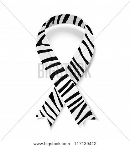 Zebra-print ribbon emblem