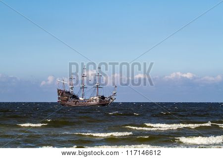 Old Pirate Galleon In The Baltic Sea