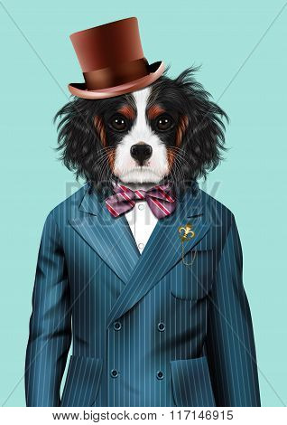 Dog Dressed Up In Blue Tuxedo And Hat