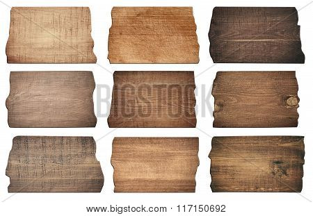 Brown wooden boards, signboard, planks are isolated on white background