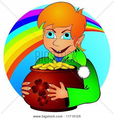 Boy elf and treasure