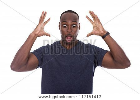 Handsome Black Man Shocked With Excitement
