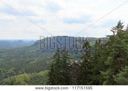 Panorama View From Carolafelsen, Affensteine In Saxon Switzerland