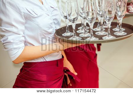 glasses of champagne on tray