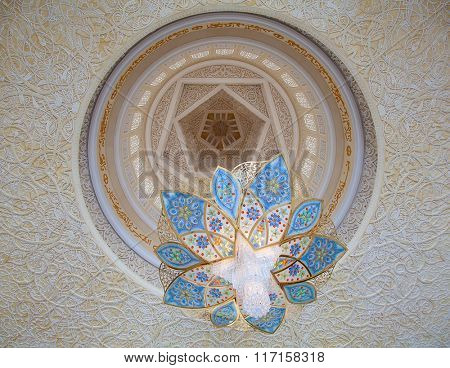 ABU DHABI, UAE - APRIL 23, 2014: Interior of Sheikh Zayed Mosque in Abu Dhabi. Mosque designed by Yusef Abdelki and opened in 2007.