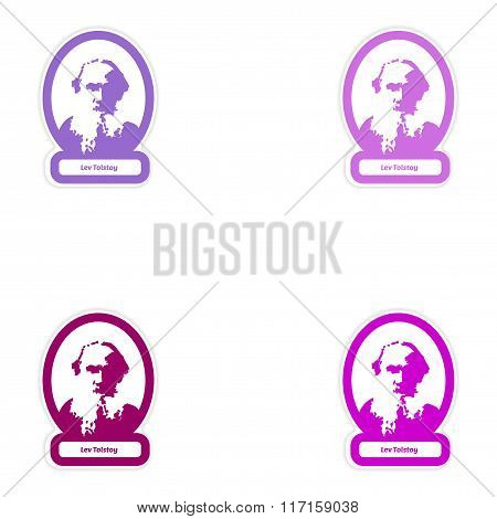 Set of paper stickers on white background Lev Tolstoy