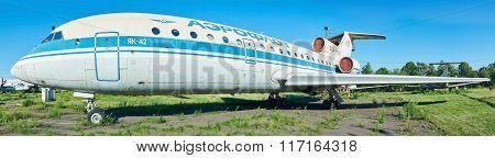 Old Soviet Aircraft Yak-42 At An Abandoned Aerodrome. Black And White Image