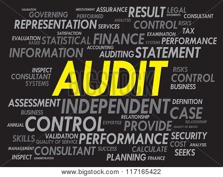 AUDIT word cloud business concept, presentation background