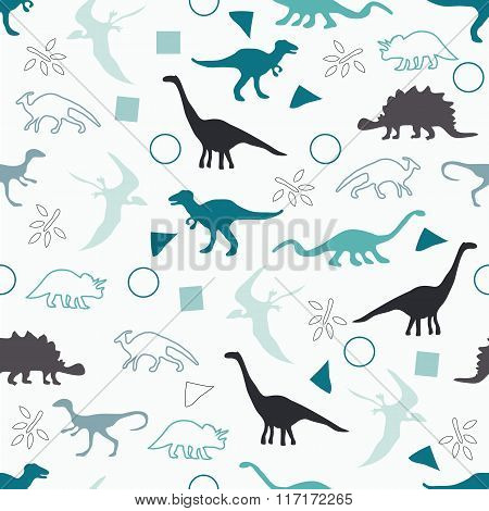 Silhouettes Of Dinosaurs.