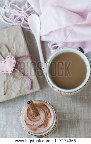 Romantic Rich Breakfast: Oatmeal With Berry Yogurt And Cinnamon, Coffee With Milk And Vintage Notebo