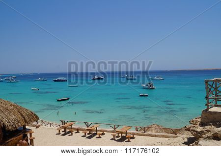 Boat And Sandy Beach On The Red Sea
