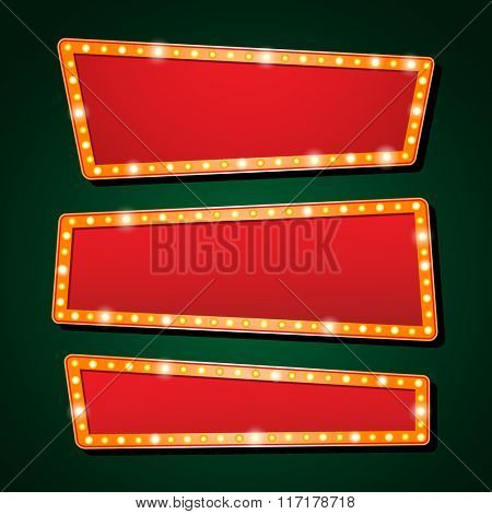 Three vector Casino banner light And theater sign